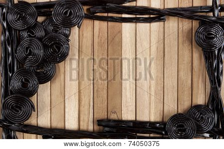 Wooden Background With Licorice