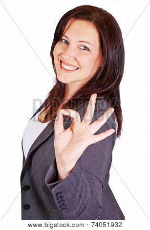 Attractive Lady Given Okay Sign
