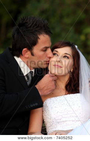Affectionate Wedding Couple