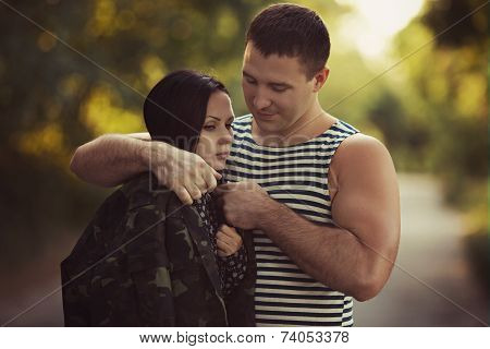 Woman and soldier
