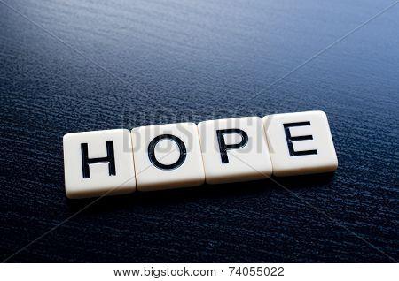 Alphabet Blocks spelling the words hope