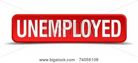 Unemployed Red Vector  Square Button Isolated On White