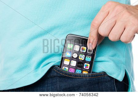 Man Removing Apple Iphone 6 From Pocket