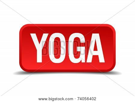 Yoga Red 3D Square Button Isolated On White