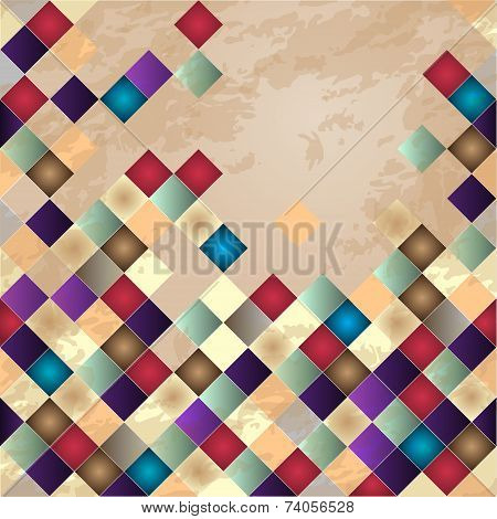 Retro vector background. Colorful mosaic banner.
