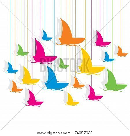 colorful boat design pattern background vector