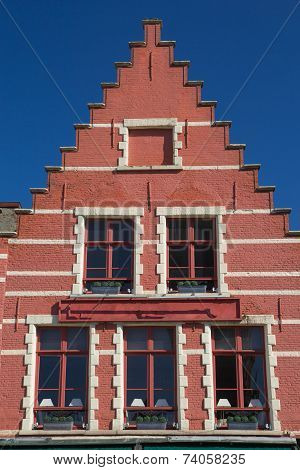 Red Gable Roof Of The Historic House