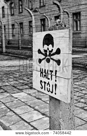 A Death's Head Sign In Auschwitz Concentration Camp
