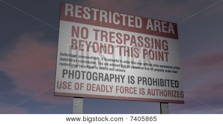 Area 51 Military restricted area sign