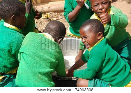 The Play Of Kindergarten Children Of The Village Of Pomerini-tanzania-africa