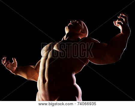 Strongman, hero showing his muscular body in winner, alpha male position. Strenght, power, body building.
