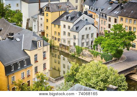 Houses And River Canal In Luxembourg