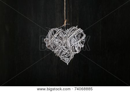 Heart Shape Christmas Wreath White Twigs On Dark Rustic Background