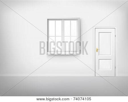 Empty Room With Window And Door