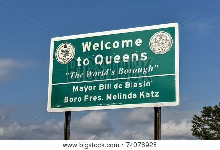 Welcome To Queens Sign - New York