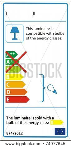 Energetic label for luminaire in vector.