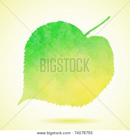 Illustration of Watercolor linden leaf isolated on white