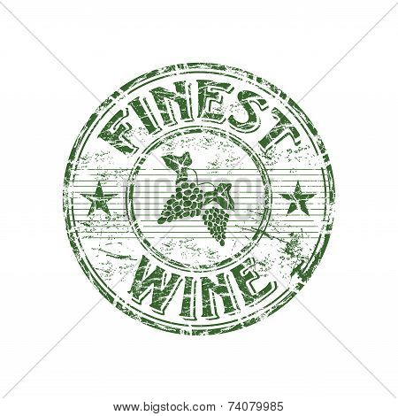 Finest wine grunge rubber stamp