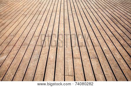 Old Wooden Floor Perspective. Background Texture