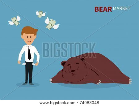 bear treading on the stock market