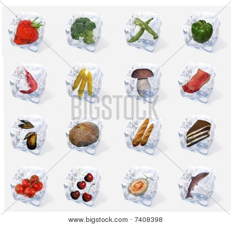 Vegetables and food frozen in ice cubes