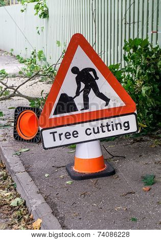 Tree Cutting Sign Vertical