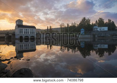 Morning Scenery With Old Power Plant