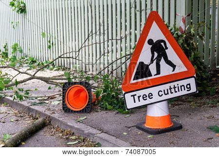 Tree Cutting Sign Horisontal