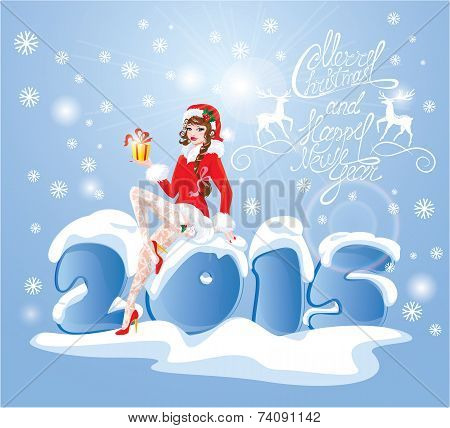 Brunette Pin Up Christmas Girl Wearing Santa Claus Suit And Stockings Carrying Present Sitting On Bi