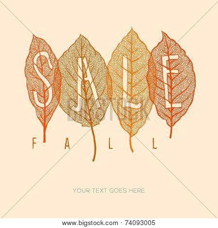 Fall sale poster with dried leaves and simple text