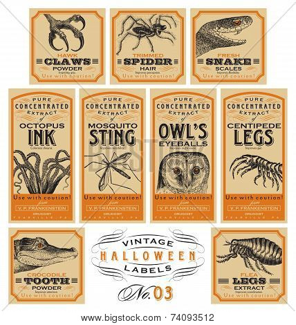Funny vintage Halloween labels 03 (vector)