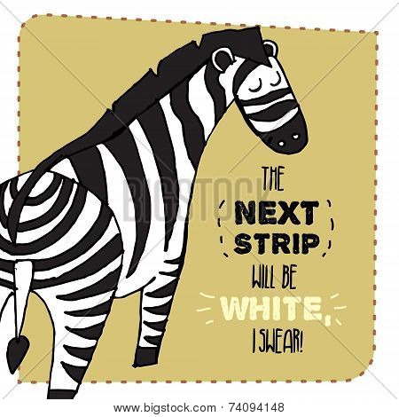Zebra hand drawn illustration. Vector illustration.