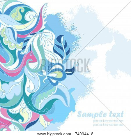 Vector ornamental floral Card. Frozen forest
