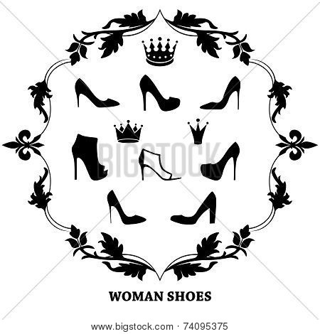 Set of woman shoes silhouettes with crowns in floral vintage frame.