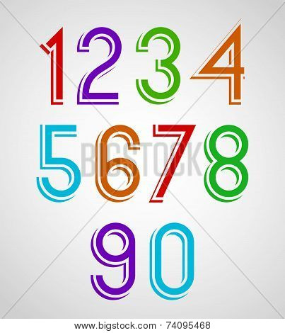 Colorful slim rounded numbers with white outline.