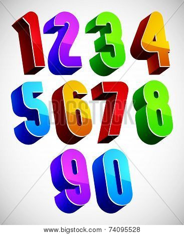 3d numbers set made with round shapes, colorful glossy numerals for advertising and web design.