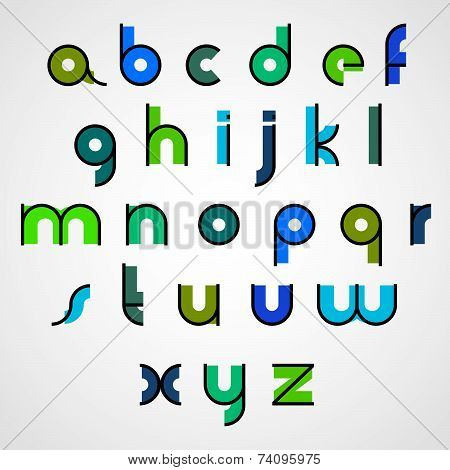 Colorful funny binary cartoon font with rounded lower case letters.