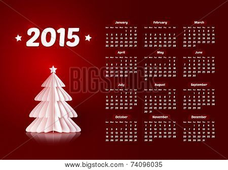 Vector 2015 new year calendar with paper Christmas trees