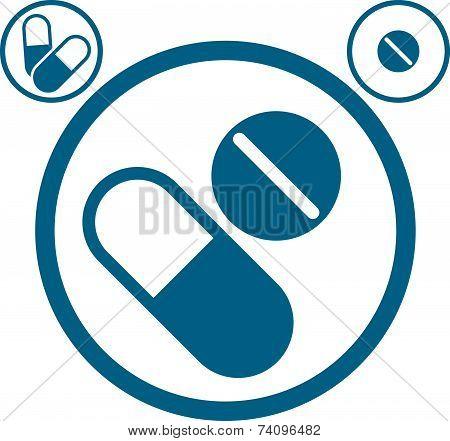 Medical pills icons set, healthcare and medicine symbol