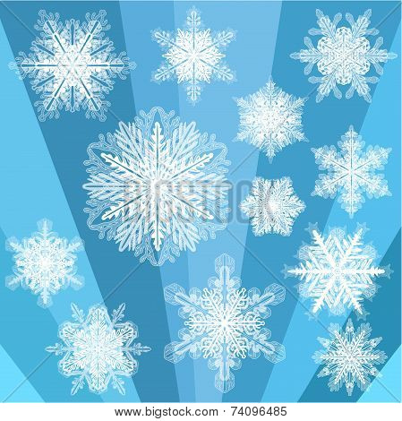 Blue Transparent Snowflake Set