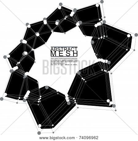 Abstract mesh illustration, template for technology theme layouts,