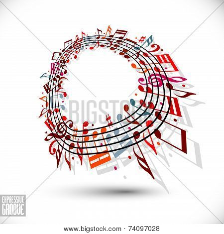 Expressive groove concept. Red music background with clef and notes, music notes in rounded frame