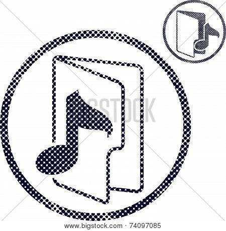 Music folder icon with halftone dots print texture. Macro newspaper style symbol. 2 versions set.