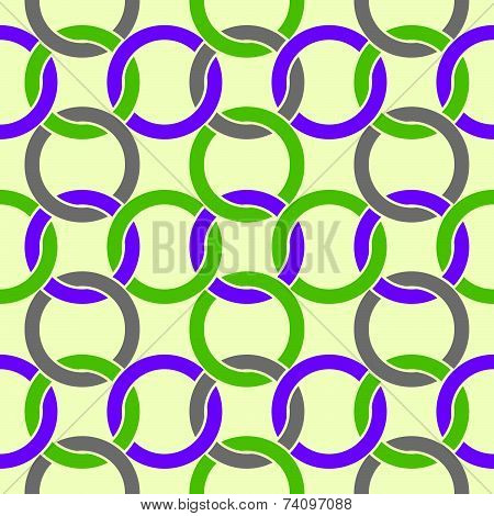 Netting seamless pattern, colorful abstract background with intertwine circles.