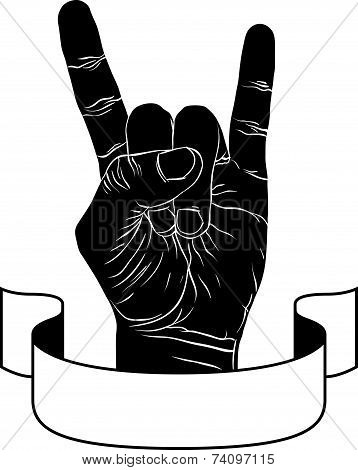 Rock on hand creative sign with ribbon, music emblem, rock n roll, detailed black and white illustra