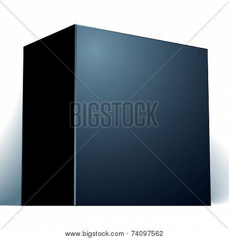 blank black box isolated on white background, template for your package design, put your image over