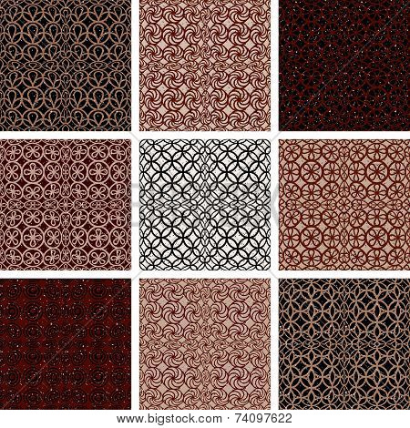 Brown vintage style tiles seamless patterns set, backgrounds collection