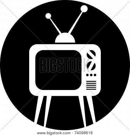 Retro tv set icon. Television monochrome symbol.