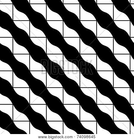 Mosaic ornament seamless pattern, black and white background.