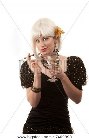 Retro Woman With White Hair